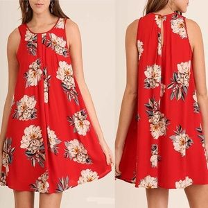 Umgee Red Floral Swing Dress
